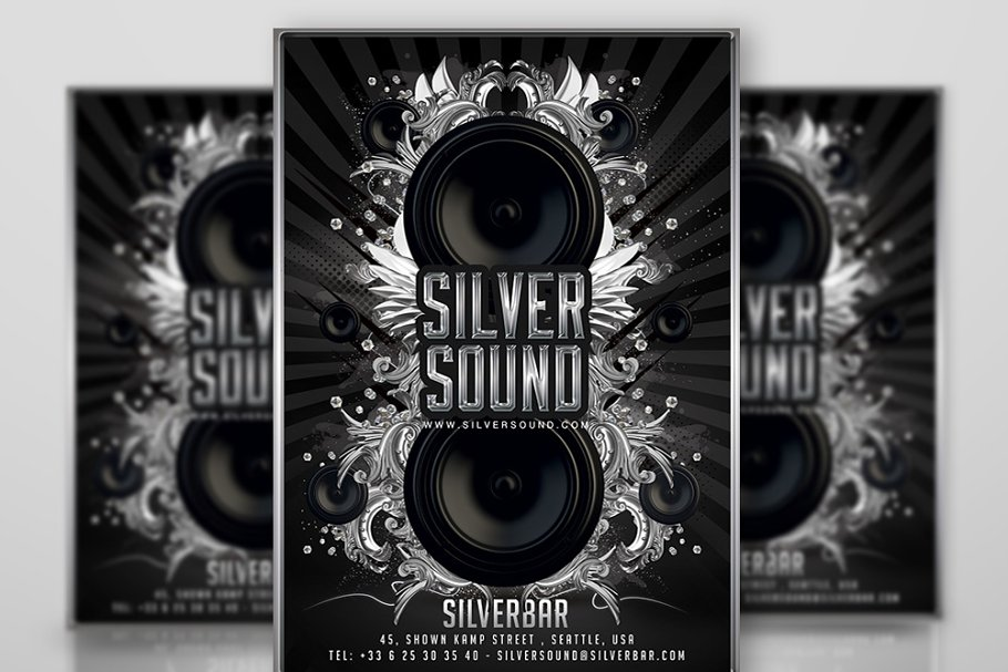 Lounge Flyer Template   Silver Lounge Party Flyer Template Flyer Templates Creative Market