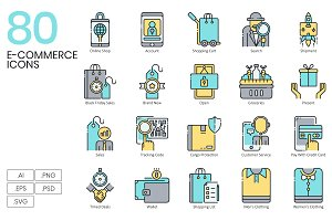 80 Shopping & E-Commerce Icons