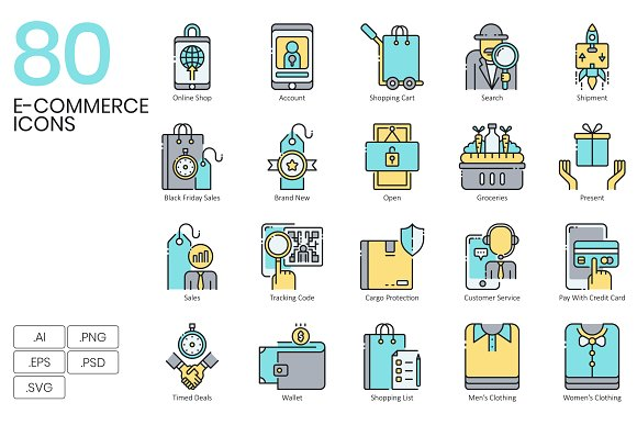 80 Shopping E-Commerce Icons