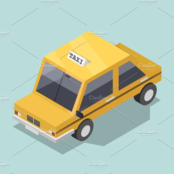 Vector Of Yellow 3D Taxi Icon