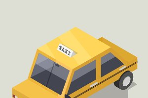 Vector of 3D yellow taxi icon