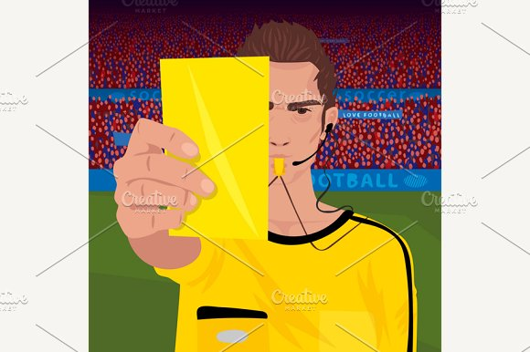 Referee Whistling Holds Yellow Card