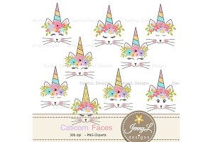 Caticorn face Clipart, Cat Unicorn