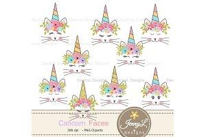 Caticorn face Clipart, Cat Unicorn