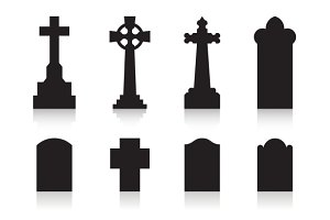 Tombstone silhouette icons