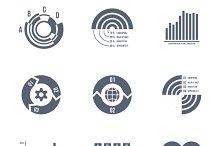 Diagrams, charts and graphs icons