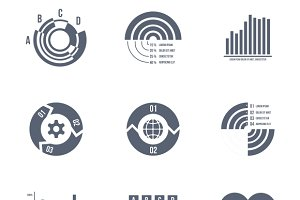 Diagrams, charts and graphs icons