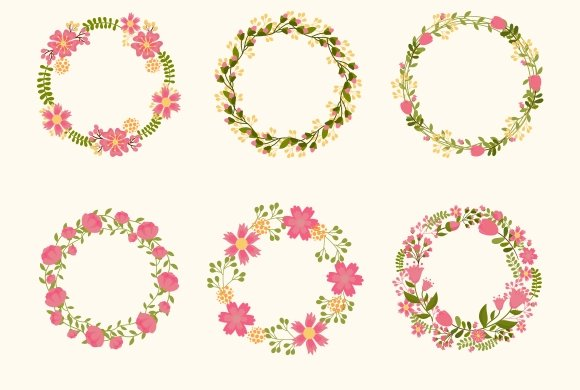 Cute vector wreaths ~ Graphics ~ Creative Market