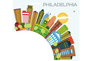 Philadelphia Skyline with Color