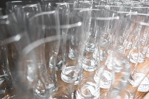 Empty beer glasses