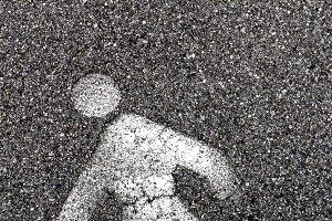 Road sign on pedestrian asphalt