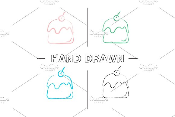 Pudding Hand Drawn Icons Set