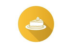 Cheesecake with strawberry flat design long shadow glyph icon