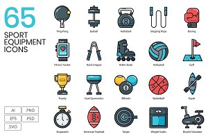 65 Sport Equipment Icons