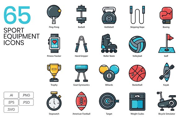 65 Sport Equipment Icons