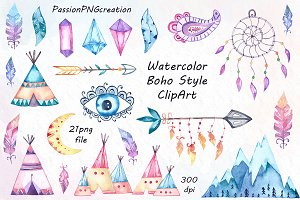Watercolor Boho Style ClipArt