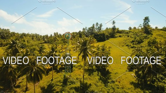 Small Wind Turbine In Farm Fields Philippines Siargao