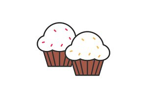 Cupcakes color icon