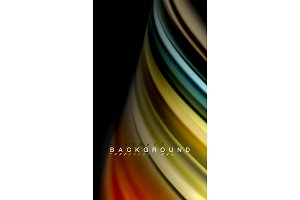 Fluid mixing colors, vector wave abstract background