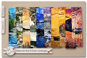 Watercolor River & Ocean Landscapes