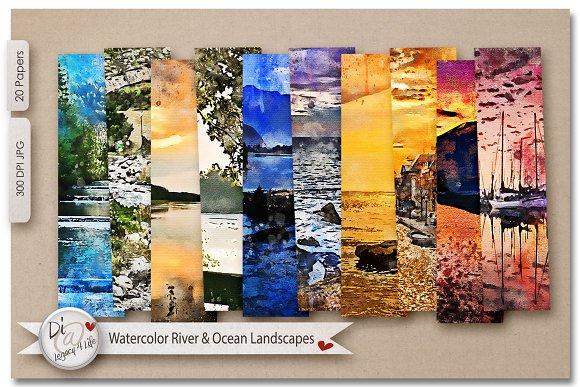 Watercolor River Ocean Landscapes