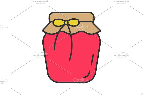 Strawberry Jam Jar Color Icon