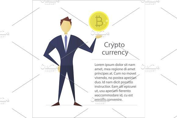 Man Holding Bitcoin Flat Character Design