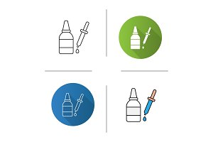 Eye drops and dropper icon