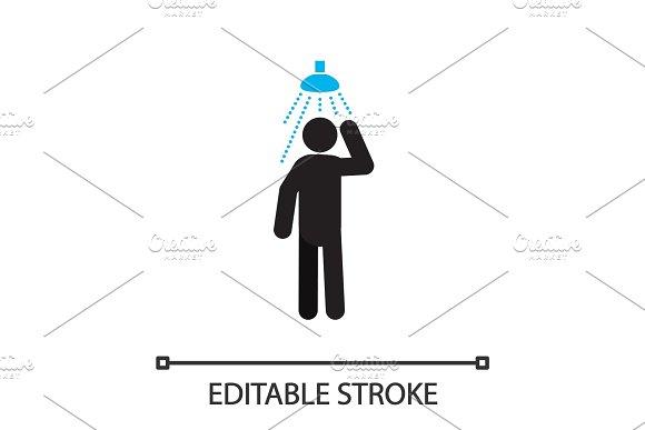 Man Taking Shower Silhouette Icon