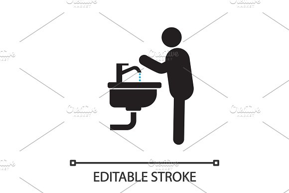 Man Washing Hands Silhouette Icon