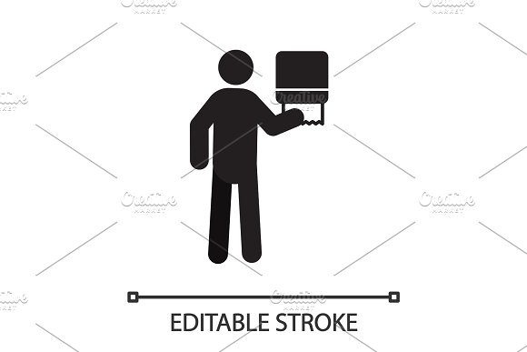 Man Using Paper Towel Dispenser Silhouette Icon