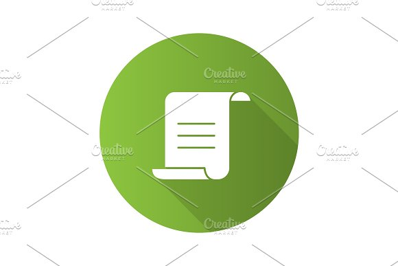 Paper Scroll With Text Flat Design Long Shadow Glyph Icon