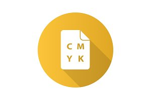 CMYK color circle model flat design long shadow glyph icon
