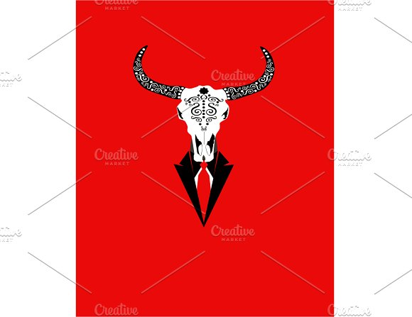 Animal Skull With Red Tie Bulls