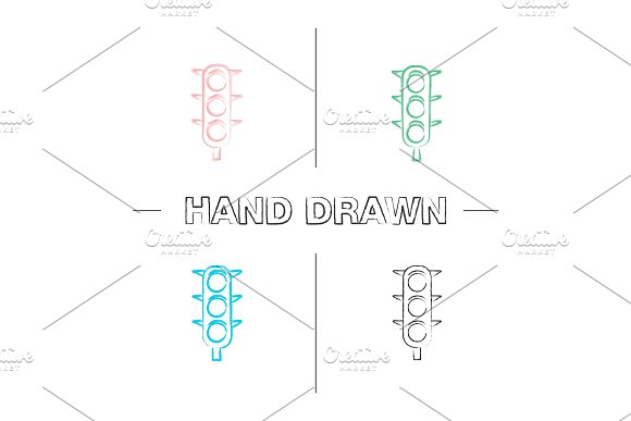 Traffic Lights Hand Drawn Icons Set