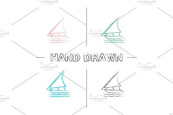 Sailing Boat Hand Drawn Icons Set