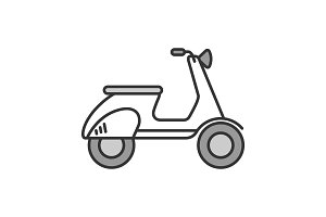 Scooter side view color icon