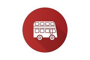 Double decker bus flat design long shadow glyph icon