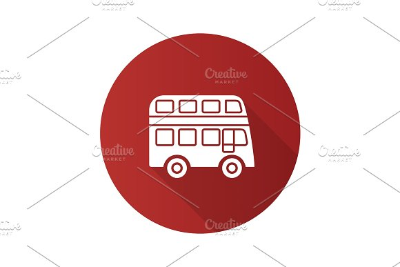 Double Decker Bus Flat Design Long Shadow Glyph Icon
