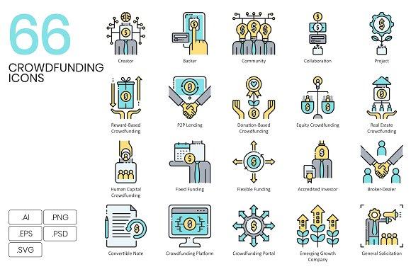 66 Crowdfunding Icons