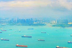 Cargo tanker ships Singapore harbor