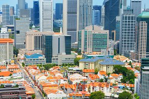 Chinatown and Downtown of Singapore