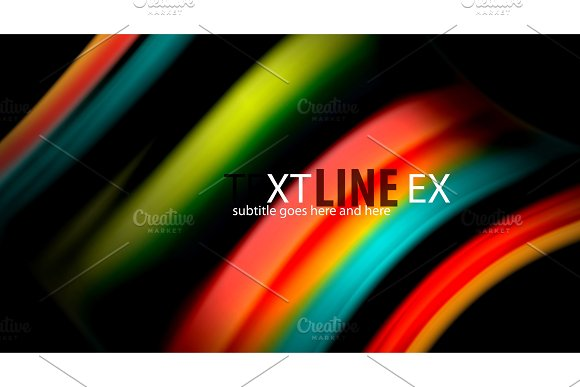 Abstract Wave Lines Fluid Rainbow Style Color Stripes On Black Background Artistic Illustration For Presentation App Wallpaper Banner Or Poster