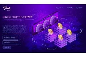 Blockchain system or technology. Mining process. Bitcoin cryptocurrency server farm.