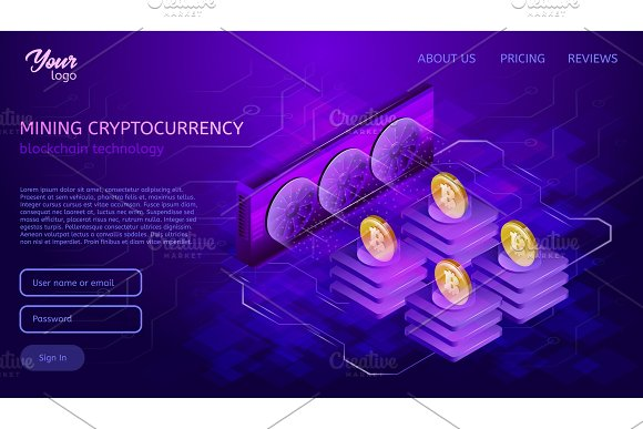 Blockchain System Or Technology Mining Process Bitcoin Cryptocurrency Server Farm