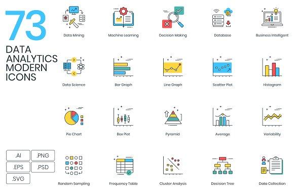 73 Data Analytics Modern Icons