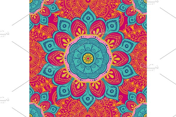 Flower Mandala Colorful Background For Cards Prints Textile And Coloring Books Seamless Pattern