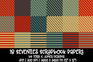 18 Seventies Scrapbook Paper Pack