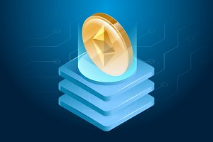 Ethereum cryptocurrency. Digital or electronic money. Blockchain technology and mining process.