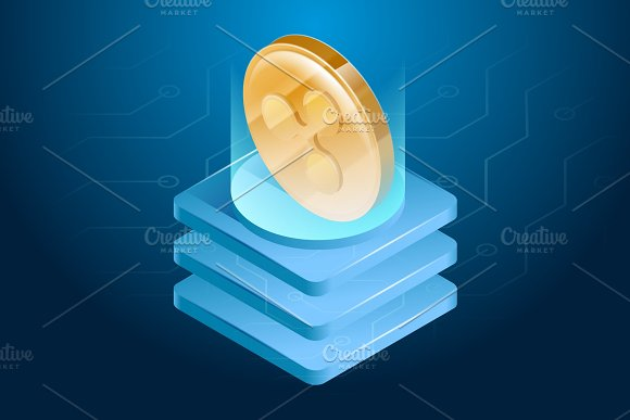 Ripple cryptocurrency. Digital or electronic money. Blockchain technology and mining process.